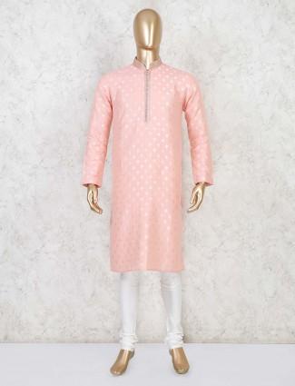 Pink cotton stand collar kurta suit