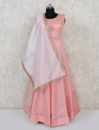 Pink cotton wedding floor length anarkali suit