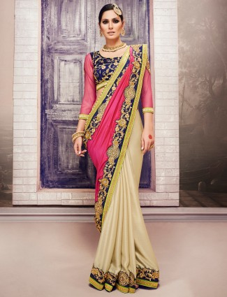 Pink cream georgette saree