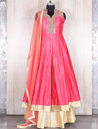 Pink cream indo western style salwar suit