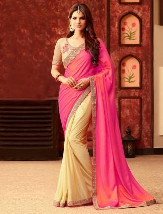 Pink cream silk classy half and half saree