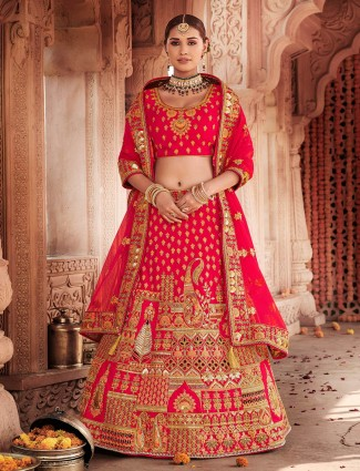 Pink designer bridal semi stitched lehenga choli for wedding
