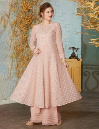 Pink designer georgette anarkali palazzo suit