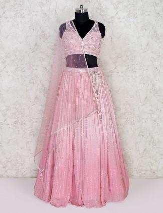 Pink designer georgette lehenga choli