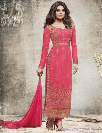 Pink designer georgette straight cut salwar suit