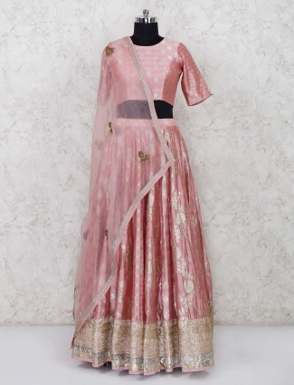 Pink designer lehenga choli in raw silk