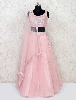 Pink designer net lehenga choli for wedding