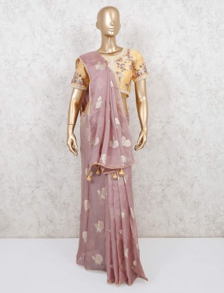 Pink designer organza saree with readymade blouse