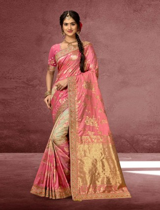 Pink designer saree in banarasi silk