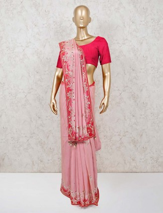 Pink designer saree in muga silk