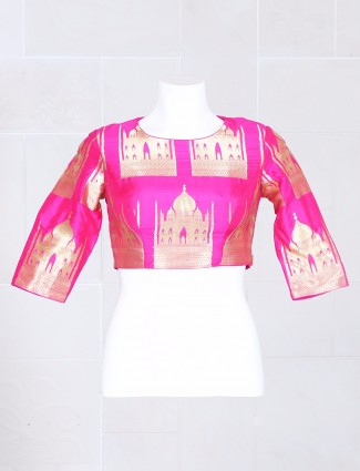 Pink designer silk ready made blouse