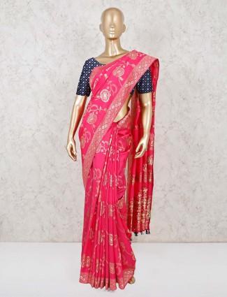 Pink dola silk reception wear saree