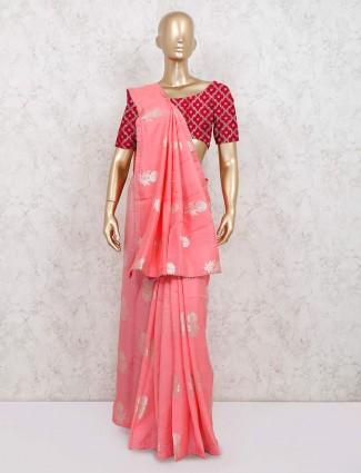 Pink dola silk saree for reception function
