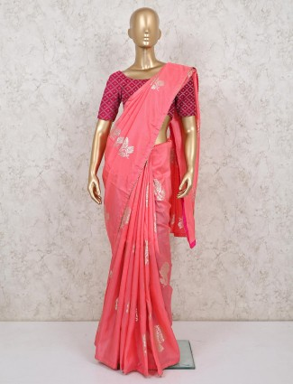 Pink dola silk saree for weddings