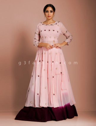 Pink double layer georgette designer lehenga suit