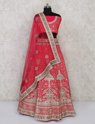 Pink embroidared silk semi stitched lehenga choli