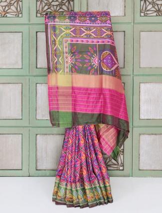 Pink festive cotton silk saree