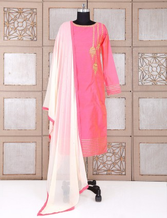 Pink festive wear silk plazo suit