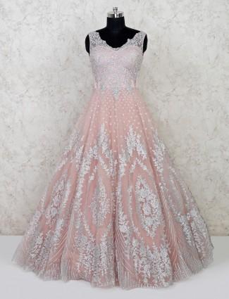 Pink floor length designer gown