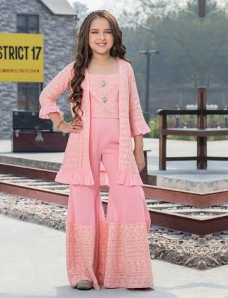 Pink georgette designer jacket style punjabi sharara suit