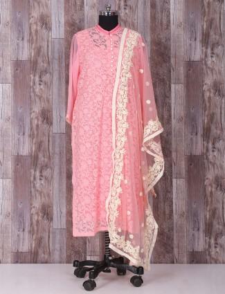 Pink georgette designer salwar suit