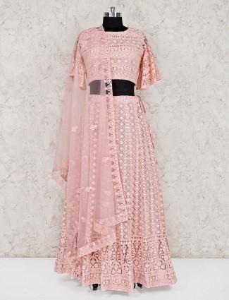 Pink georgette designer wedding lehenga choli