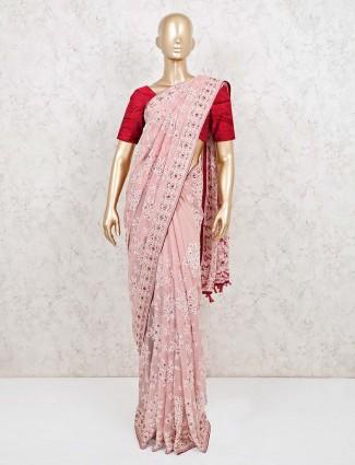 Pink georgette designer wedding reception saree