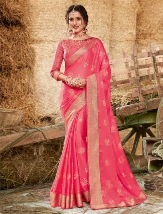 Pink georgette festive function saree