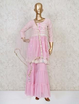 Pink georgette festive punjabi sharara suit