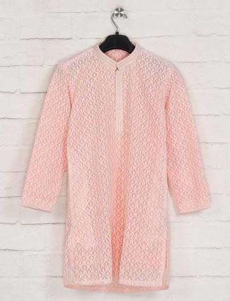 Pink georgette festive wear kurta suit