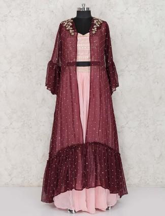 Pink georgette jecket style lehenga suit