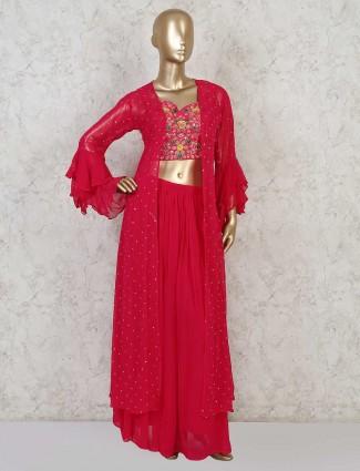 Pink georgette palazzo style salwar kameez for festivals