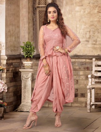 Pink georgette peplum style dhoti suit