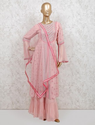 Pink georgette punjabi sharara suit for party