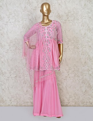 Pink georgette raw silk sharara suit for parties