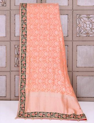 Peach silk saree for party