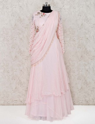 Pink georgette wedding designer anarkali suit