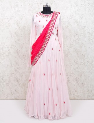 Pink georgette wedding floor length anarkali suit