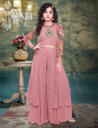 Pink georgette wedding function sharara suit