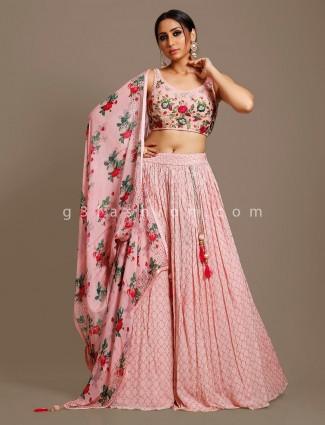Pink georgette wedding occasion lehenga choli