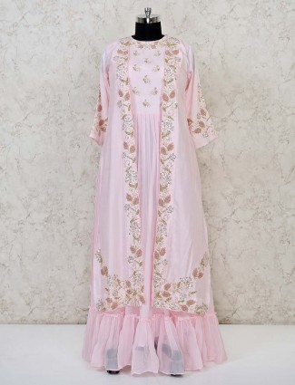 Pink georgette wedding special anarkali salwar suit