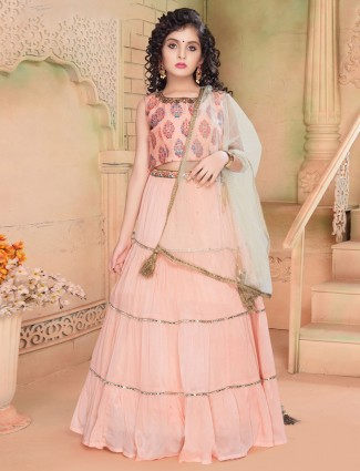Pink georgette wedding wear girls lehenga choli