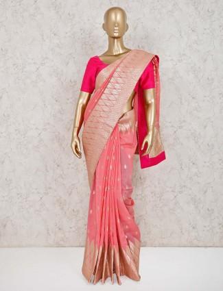Pink golden zari weaving dola silk saree
