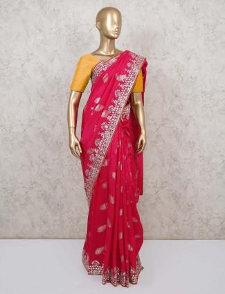 Pink gotta patti muga silk saree for weddings