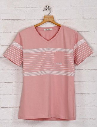 Pink graphic casual top in cotton