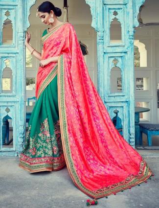 Pink green classy silk half and half saree