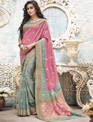 PInk green festive wear art silk saree