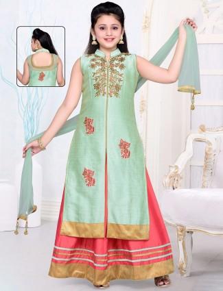 Pink green silk Indo western