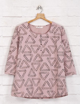 Pink half buttoned casual printed top in cotton