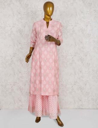 Pink hue cotton punjabi sharara suit
